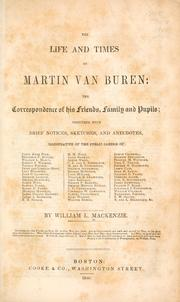 Cover of: The life and times of Martin Van Buren
