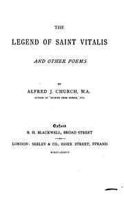 Cover of: The legend of Saint Vitalis: and other poems