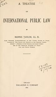 Cover of: A treatise on international public law