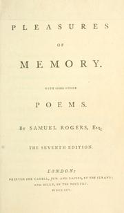 Cover of: The pleasures of memory, with some other poems