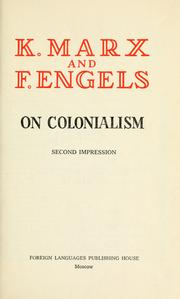 Cover of: On colonialism