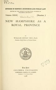 Cover of: New Hampshire as a royal province