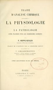 Cover of: Trait©Øe d'analyse chimique appliqu©Øee ©Ła la physiologie et ©Ła la pathologie