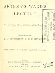 Cover of: Artemus Ward's lecture | Charles Farrar Browne