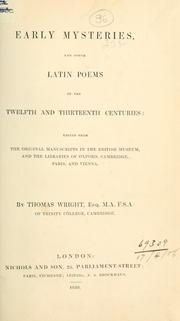 Cover of: Early mysteries, and other Latin poems of the twelfth and thirteenth centuries