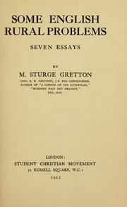 Cover of: Some English rural problems: seven essays