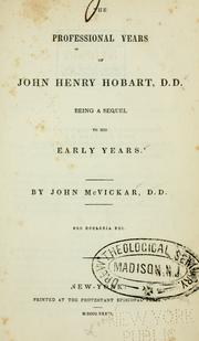 Cover of: The professional years of John Henry Hobart