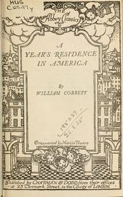 Cover of: A year's residence in America