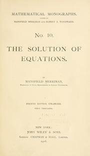 Cover of: The solution of equations