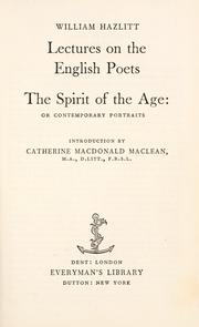 Cover of: Lectures on English poets: The spirit of the age.