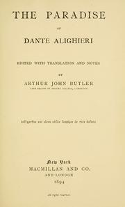 Cover of: The Paradise of Dante Alighieri: an experiment in literal verse translation