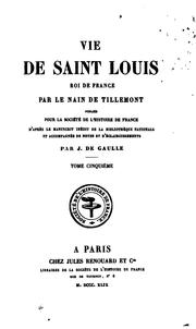 Cover of: Vie de Saint Louis: Roi de France