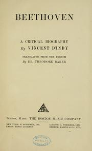 Cover of: Beethoven; a critical biography