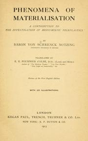 Cover of: Phenomena of materialisation by A. von Schrenck-Notzing