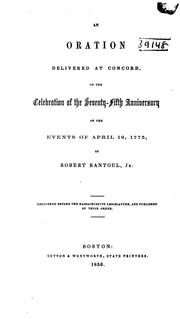 Cover of: An oration delivered at Concord