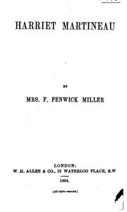 Harriet Martineau by Miller, Florence Fenwick