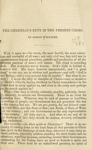 Cover of: The Christian's duty in the present crisis