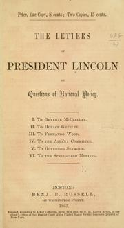 Cover of: The letters of President Lincoln on questions of national policy ..