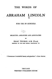 Cover of: The words of Abraham Lincoln: for use in schools