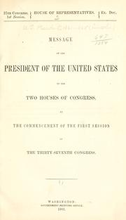 Cover of: Message of the President of the United States ..
