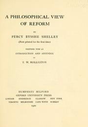 Cover of: A philosophical view of reform