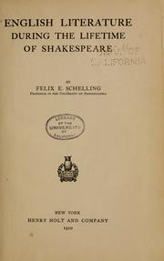 Cover of: English literature during the lifetime of Shakespeare