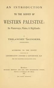 Cover of: An introduction to the survey of western Palestine