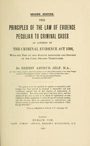 Cover of: The principles of the law of evidence peculiar to criminal cases