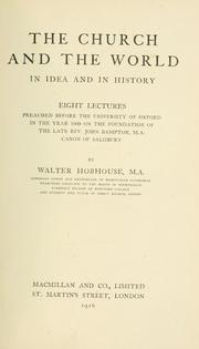 Cover of: The church and the world in idea and in history