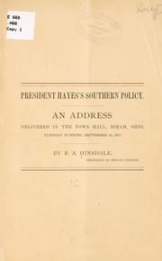 Cover of: President Hayes's southern policy | Burke Aaron Hinsdale