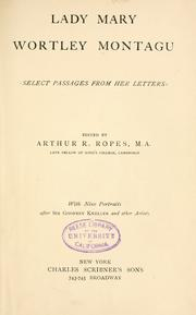 Cover of: Lady Mary Wortley Montagu