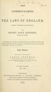 New commentaries on the laws of England by Henry John Stephen