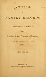 Cover of: Annals and family records of Winchester, Conn