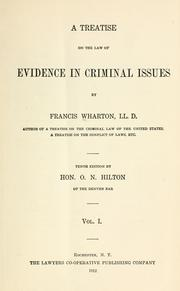 Cover of: A treatise on the law of evidence in criminal issues