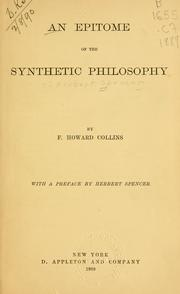 Cover of: An epitome of the Synthetic philosophy
