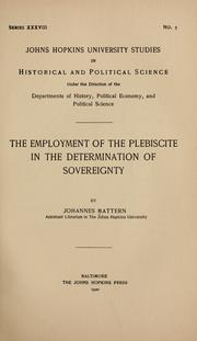 Cover of: The employment of the plebiscite in the determination of sovereignty