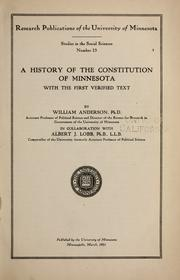 Cover of: A history of the Constitution of Minnesota: with the first verified text