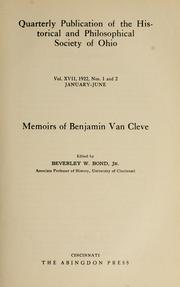 Cover of: Memoirs of Benjamin Van Cleve