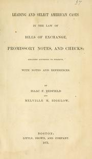 Cover of: Leading and select American cases in the law of bills of exchange