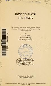 Cover of: How to know the insects