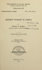 Cover of: Serpent worship in Africa | Wilfrid Dyson Hambly