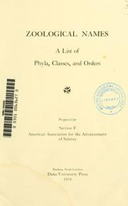 Cover of: Zoological names