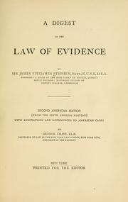 Cover of: A digest of the law of evidence