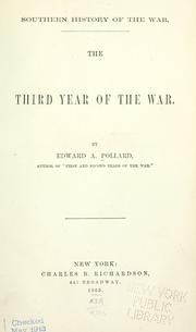 Southern history of the war by Edward Alfred Pollard