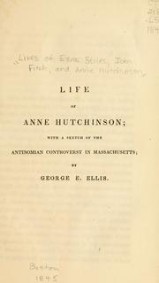 Cover of: Life of Anne Hutchinson