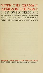 Cover of: With the German armies in the West