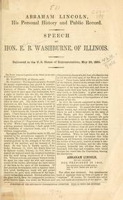 Cover of: Abraham Lincoln, his personal history and public record