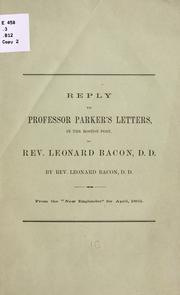 Cover of: Reply to Professor Parker