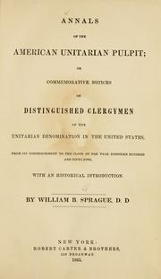 Cover of: Annals of the American Unitarian pulpit