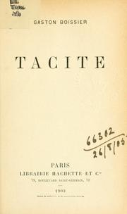 Cover of: Tacite
